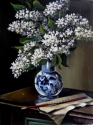 WHITE LILAC IN A BLUE VASE