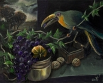 STILL-LIFE A TOUCAN AND GRAPES